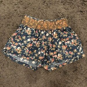 High-Waisted Floral Jean Shorts